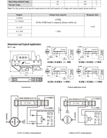 Compact DC Current/Voltage Signal (magnetoelectric) Transmitter/ Isolator  (DIN3 ISO EM-U(A)-P-O)