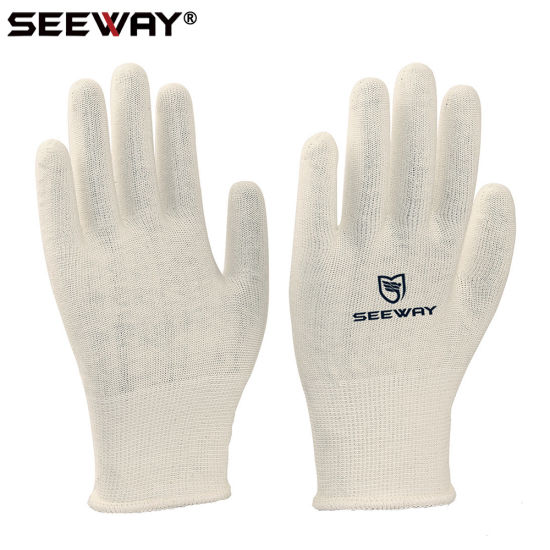 China Seeway 13 Gauge Knitted White Cotton Gloves For Dry Hands