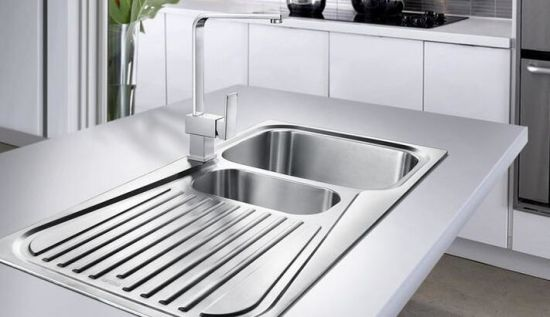 China Double Bowl Sink With Single Drain Board Stainless Steel