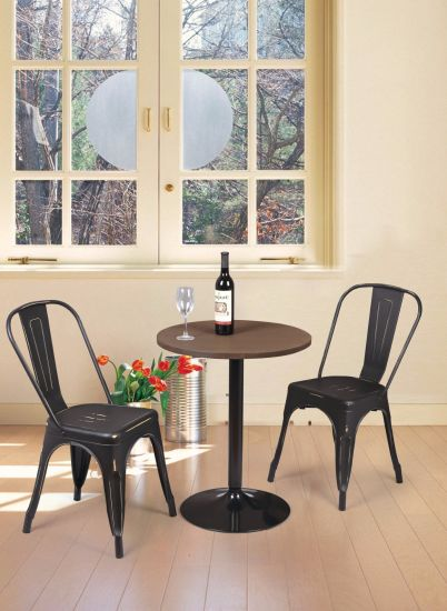Tolix Style Metal Dining Chairs With Wood Seat Industrial Counter Stool  Cafe Side Chairs