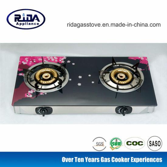 (RD-GD144-4) Printing Glass Top Gas Stove 2 Burner Gas Cooker