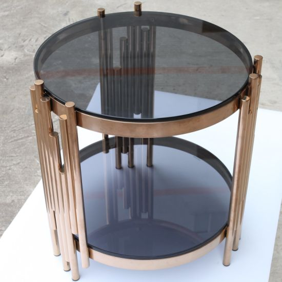 China New Design Glass Coffee Table with Metal Frame ...