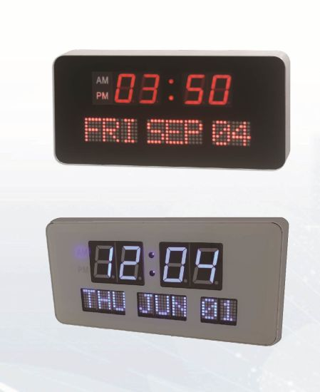 China Electric Large Digit Led Wall Calendar Clock China Led Clock