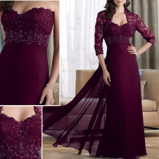 Wine Red Chiffon Lace Long Sleeves Beaded Evening Dress M1305203 pictures & photos