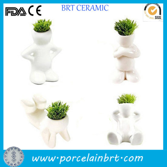 Innovative Smart Men Mini Ceramic Flower Plant Pot pictures & photos