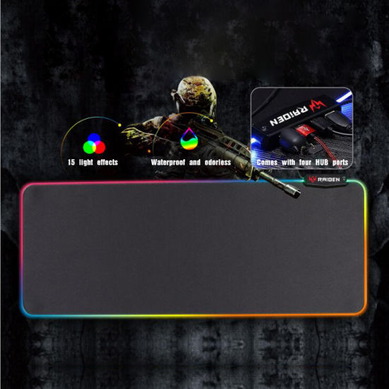 Large Glowing RGB Extended Soft Mouse Pad with Smooth Surface and Non-Slip Rubber Base