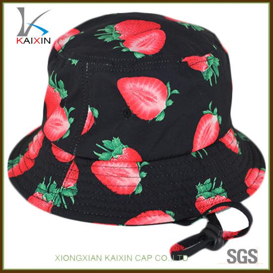 China Custom Strawberry Printing String Bucket Cap for Kids - China ... c6ed3312c868