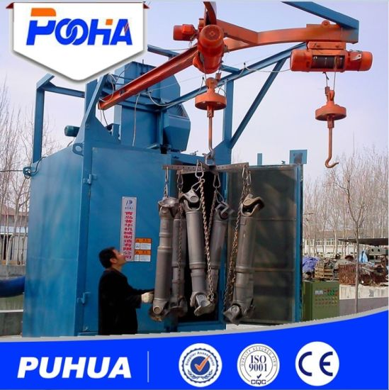 Two Hooks Type Shot Blasting Machine for Aluminum Parts pictures & photos