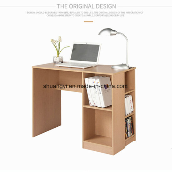Home Office Furniture Flat Packing Wooden PC Desk With Bookshelf