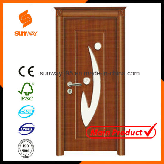 China Quality Turkish Glass Pvc Wooden Door With Certificate Sw