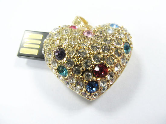 Heart Gem USB Drives with 512MB/1/2/4 to 32GB Memory Capacities
