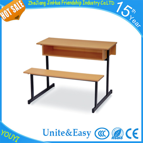 New Style High Quality University Furniture School Double Desk and Chair