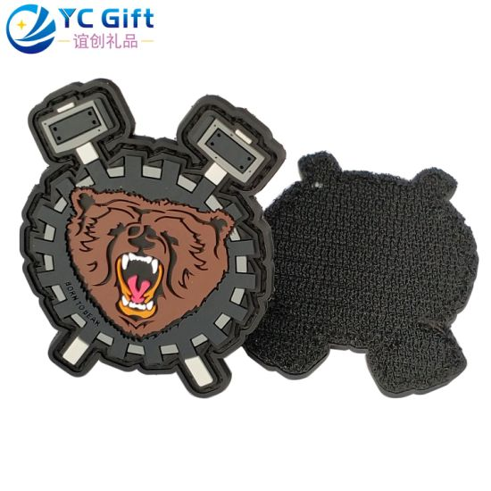 Custom Fashion Cartoon Animal Lion Soft Logo Jean Jeack Hat Shoes Decoration PVC Patches Velcro in The Back