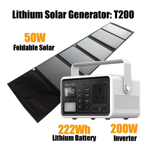 222wh 60000mAh Portable Power Station Camping Generator DC 5V/12V Output, AC Power Inverter Optional (110V/220V/100W) , Power Source for Laptop, Tablet