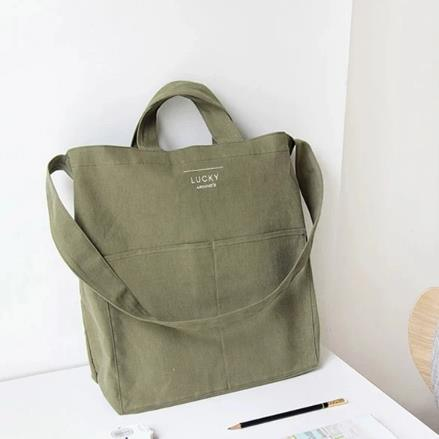 Custom Logo Printed Natural Canvas Tote Cotton Bag with Pocket