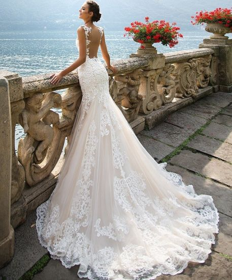 China Pink Bridal Gowns Appliqued Lace Tulle Mermaid Wedding Dresses ...