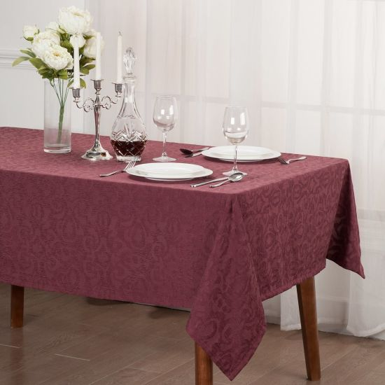 Wholesale New Christmas Beige Embroidered Table Cloth Ready Made Cotton Linen Table Cloth for The Living Room Hotel