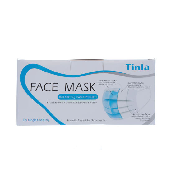 Factory Price Disposable Face Mask 3 Ply Earloop for Adult Protective Mask Flat Type Individual Packaging