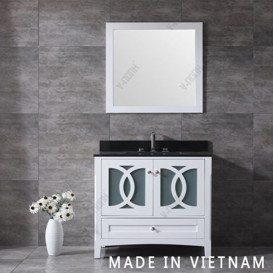 China Best Selling Modern White Cabinet Single Sink Solid Wood Bathroom Vanity China Transitional Hangzhou
