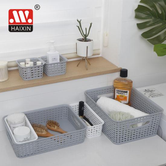 Household Multi-Purpose Woven Plastic Storage Basket of Baskets Set