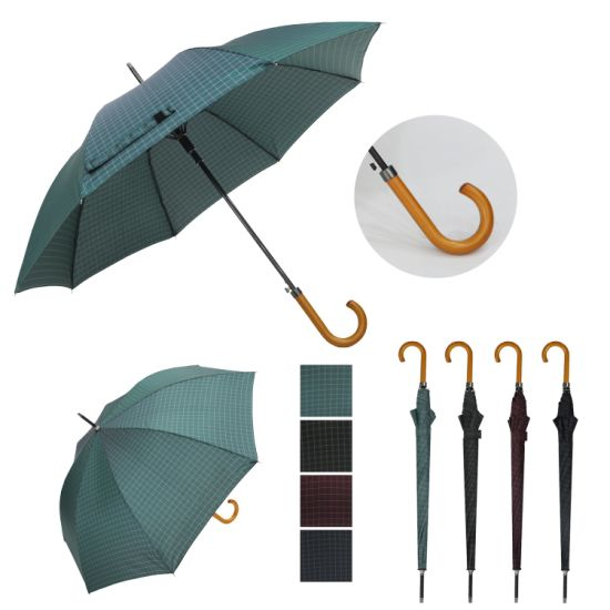 Straight Auto Open Handle Grid Umbrella