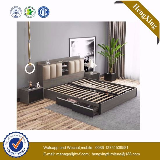 Modern Bedroom Furniture Bedroom Set Hotel Wooden Double Bed (UL-9BE001)