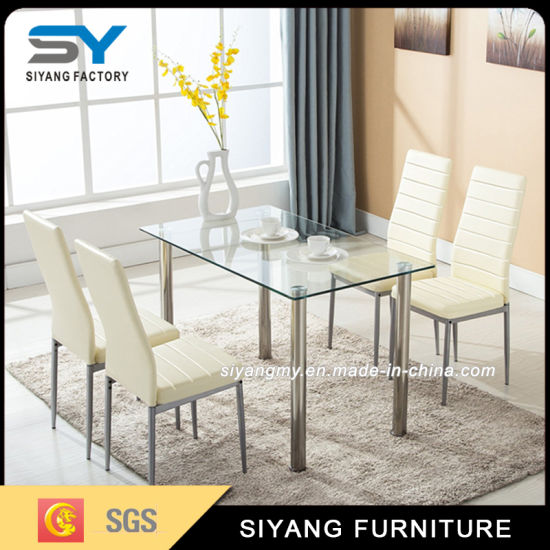 European High Quality Dining Table With Tempered Gl