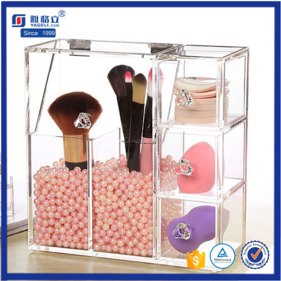 2afab861af82 Clear Acrylic Makeup Brush Holder Acrylic Brush Organizer with Lid