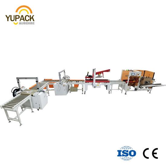 Customized Random Carton/Box/Case /Cardboard Edge Corner Tape/Taping Sealer/Sealing Machine with Erecting Strapping Weighting for Packing/Packaging System