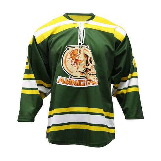100% Polyester Custom Made Professional Laced Collar Ice Hockey Jerseys