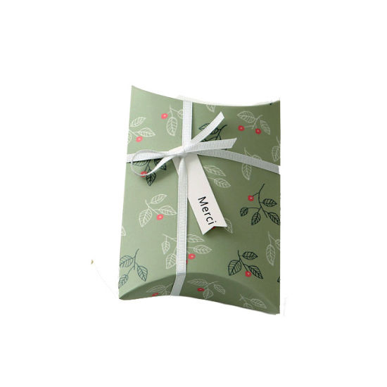 Fancy Kraft Paper Pillow Box Printing Logo with Decorative Ribbon / Rope