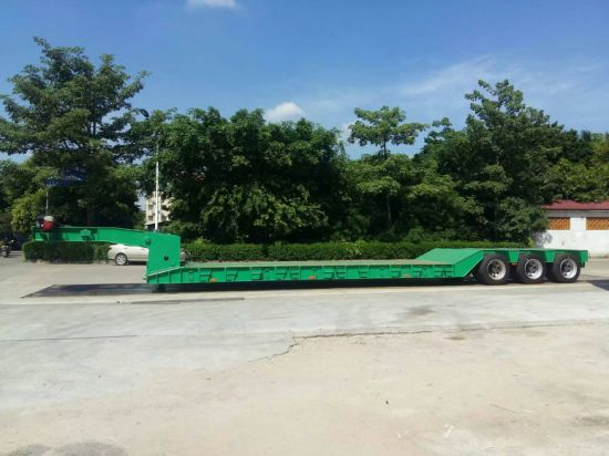 China Excavator Transport Gooseneck Lowboy Low Bed Semi Trailer pictures & photos