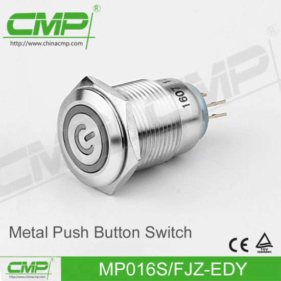 16mm Metal Power Lamp Push Button Switch