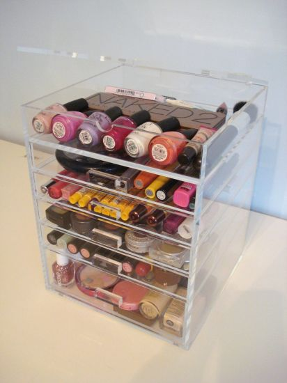 Clear Acrylic Makeup Organizer With 5 6
