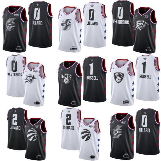 buy popular 745a9 c0cc0 2019 All-Star Damian Lillard Dangelo Russell Westbrook Leonard Basketball  Jerseys