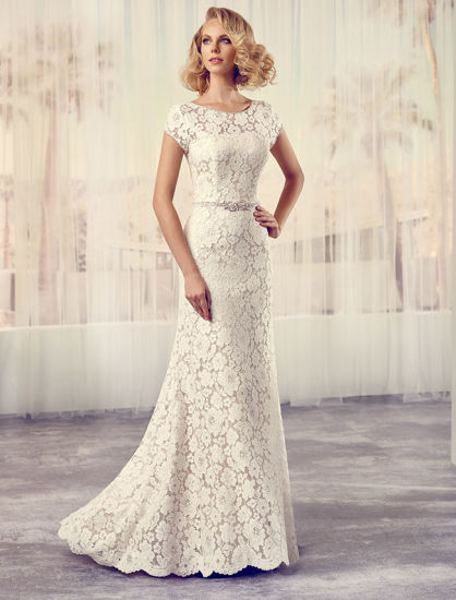 China Real Sample off-Shoulder Lace Bridal Gown Wedding Dresses ...