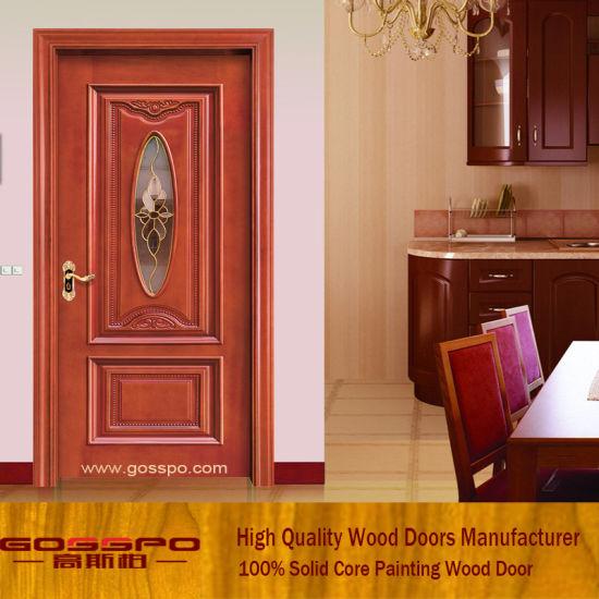 China Tempered Glass Wood Door Interior Wooden Room Door Gsp3 006