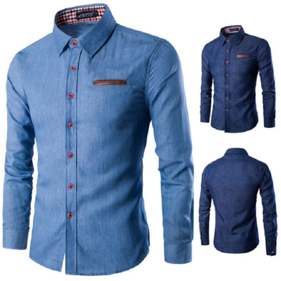 Comfortable Custom Long Sleeve Man Shirt in Jeans pictures & photos