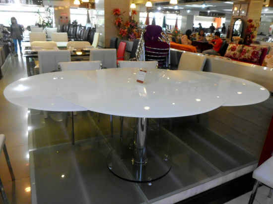 China Round Extendable Twisting Motion Butterfly Glass Dining Table Manufacturer L818 China Glass Dining Table Extendable Dining Table