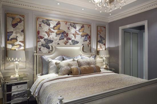 Latest 5 Star Solid Wood with Wood Veneered Panel Hotel Modern Bedroom Furniture (EMT-SKB03)
