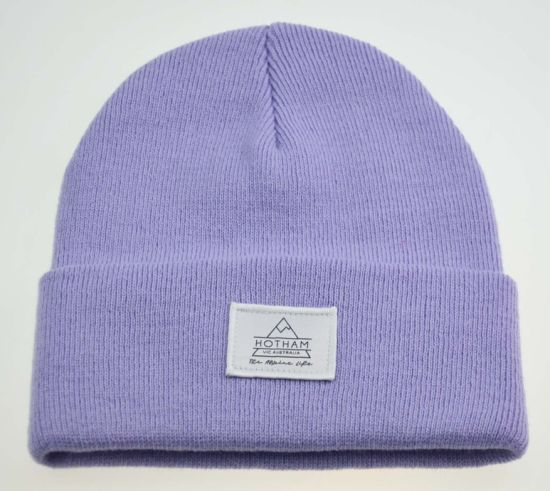 Light Purple 100% Acrylic Knitted Beanie Hats with Customized Patch
