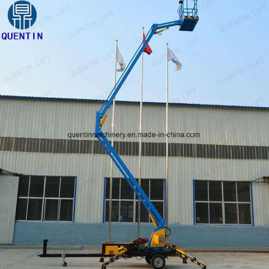 6-18m Articulated Trailer Mounted Boom Man Lift Towable Cherry Picker for  Sale