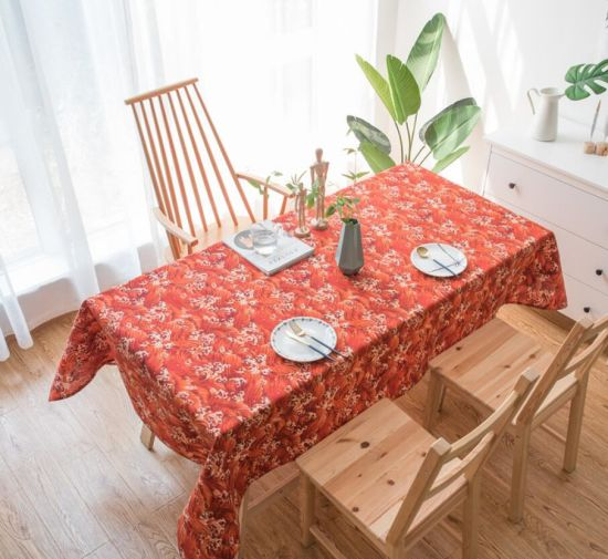 Japanese Style Cotton Linen Rectangular Household Tea Table Cloth with Printed Leaf
