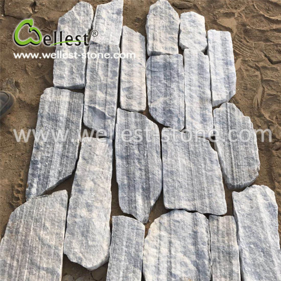 Elegant Random Shape of Light Grey Quartzite Fieldstone Loose Stone pictures & photos