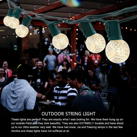 Solar Powered G40 Bulb 30feet 26bulbs/String LED String Light Waterproof pictures & photos