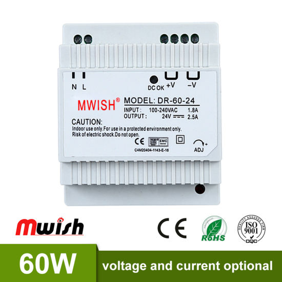 China DIN Rail Switching Power Supply 60W 24V 2.5A DC AC Single ...