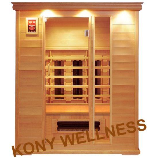 150cm Width Far Infrared Sauna Room for 3 Person Made F Canada Hemlock Wood