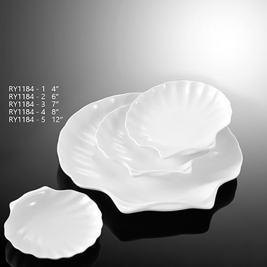 Different Sizes Ceramic Shell Plate Hotel Used Crockery Porcelain Plate