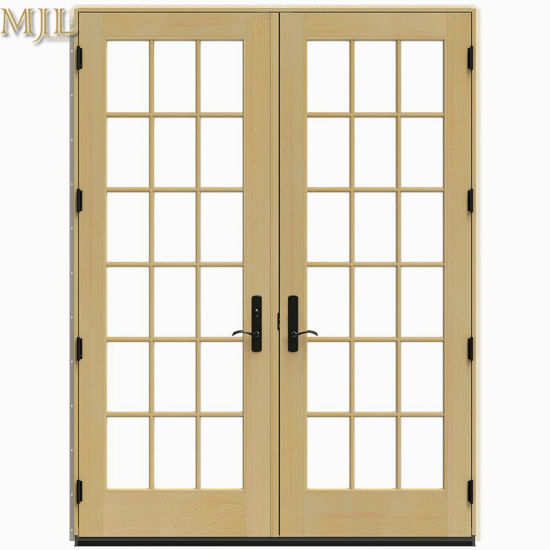 China New Design Double Tempered Glass Aluminum Clad Wood French