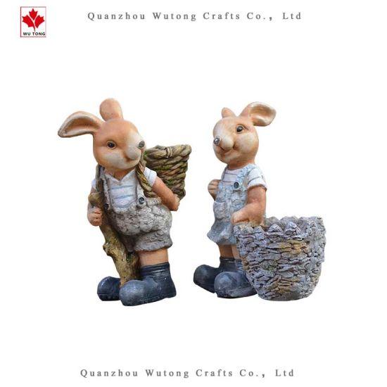 Wholesale Resin Crafts Home Garden Decor Rabbit Bunny Flower Pot